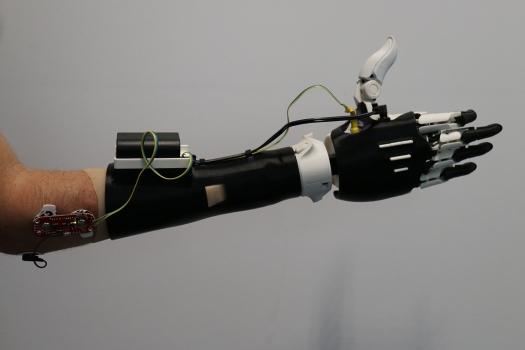 Main Hackberry que nous avons fabriquée en 2016 avec l'équipe du fablab Berlin et adapté sur mon bras
